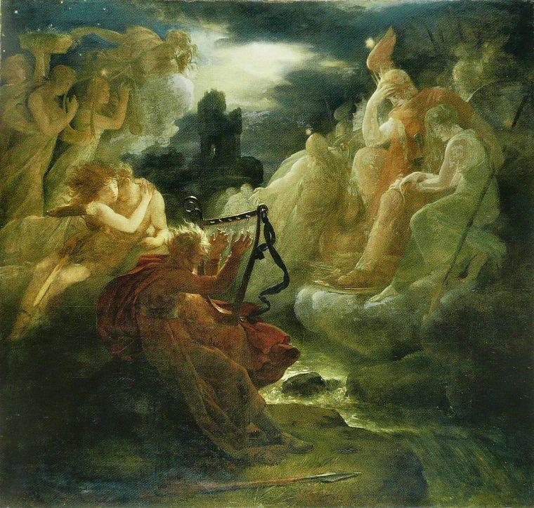 """""""Ossian évoque les fantômes au son de la harpe sur les bords du Lora"""", dipinto di F. Gérard (fine XVIII-inizi XIX sec.)"""