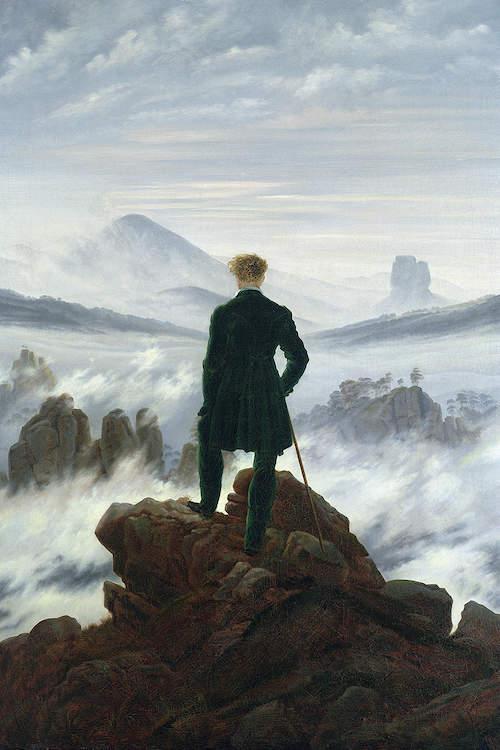 Il viandante sul mare di nebbia (C. D. Friedrich, 1818)