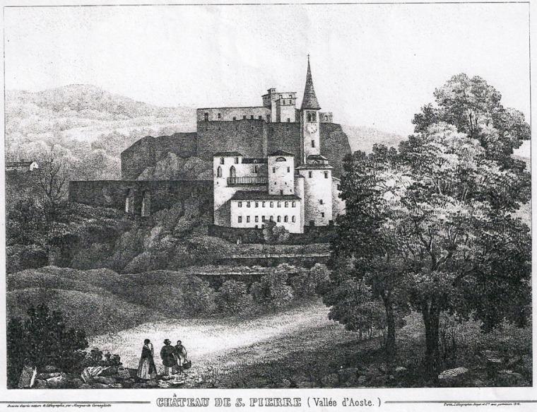 Veduta del castello di Saint-Pierre prima degli interventi in stile neogotico (stampa di E. Aubert, 1860)