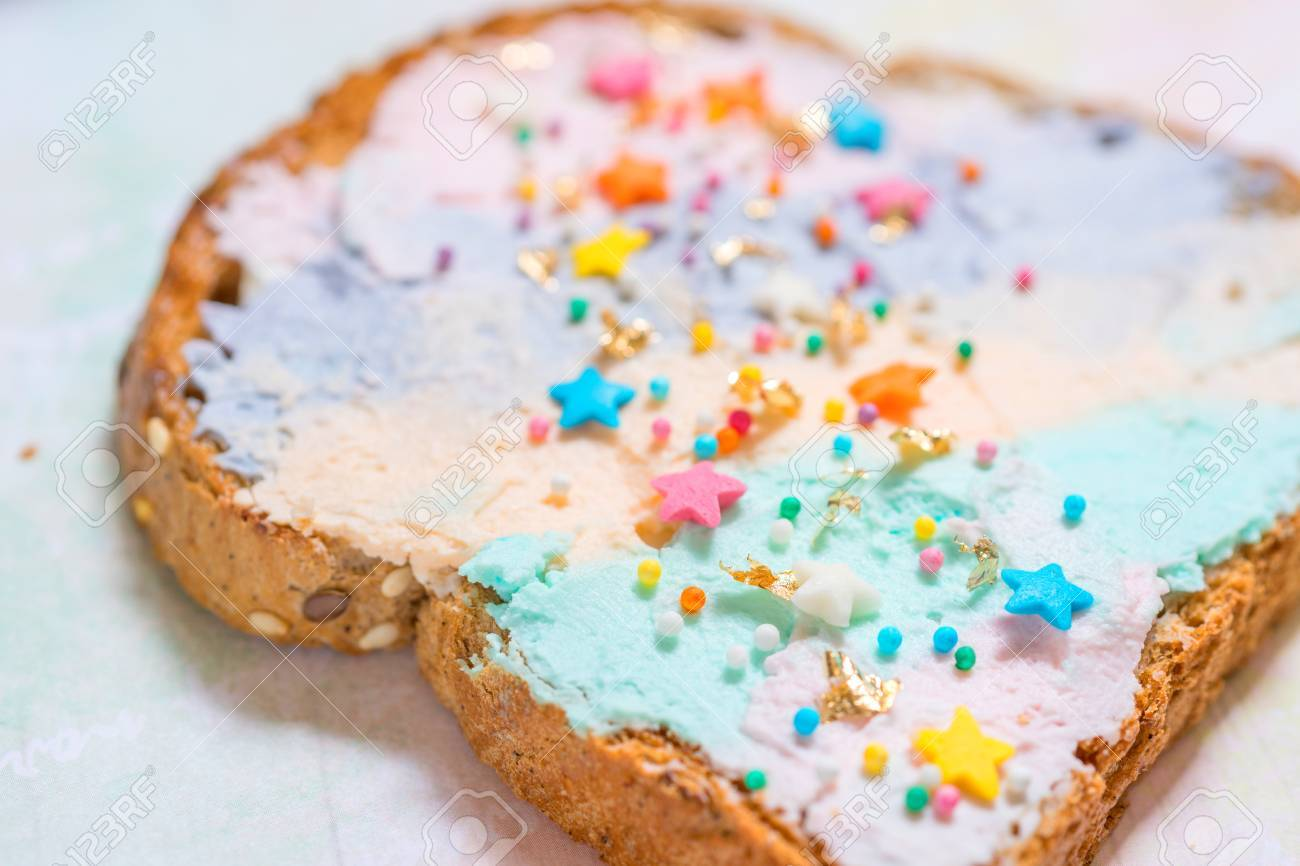 Unicorn food toasted bread with colorfur cream cheese