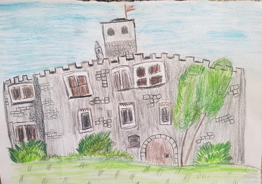 Il Castello di Introd (disegno di Gilles Bastrenta, 9 anni)