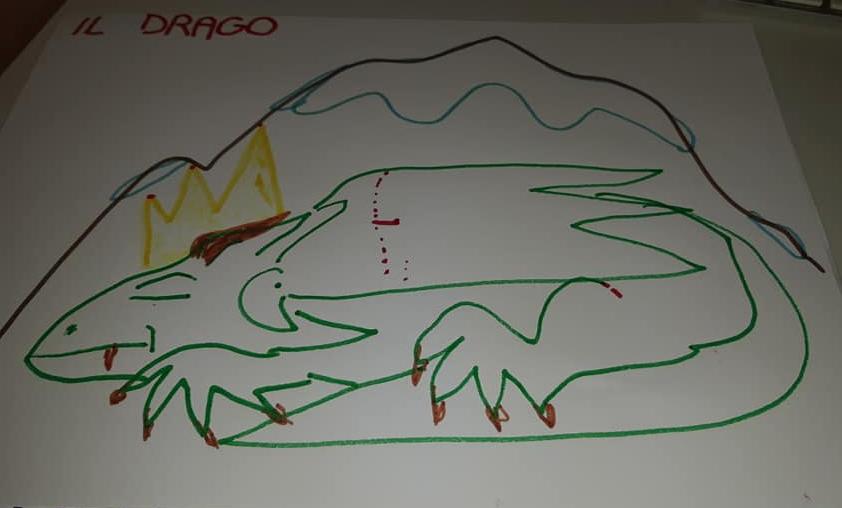 Il drago nella montagna (disegno di Costanza Acerbi, 3 anni e mezzo)